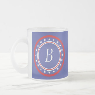 Patriotic Stars and Stripes - With Monogram Frosted Glass Coffee Mug
