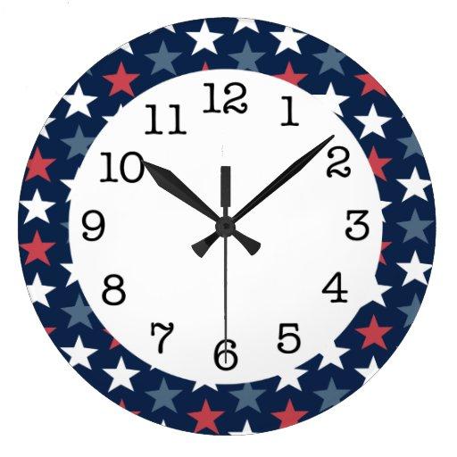 Patriotic Stars Red White & Blue Round Wall Clock