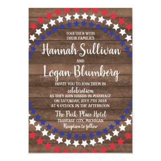 Patriotic Stars  Rustic Fourth of July Wedding Card