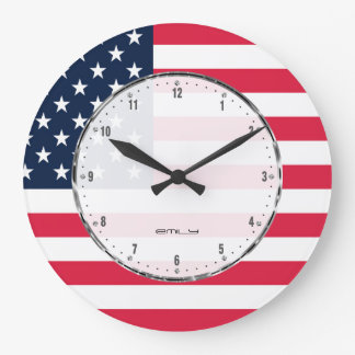 Patriotic Stars & Stripes Abstract American Flag 2 Clock