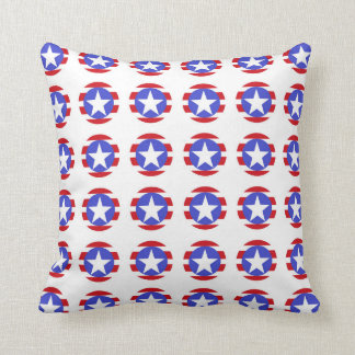 Patriotic Stars, Stripes and Circles Throw Pillow