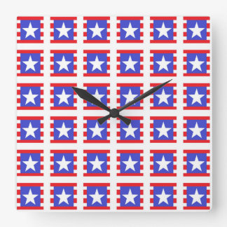 Patriotic Stars, Stripes and Squares Square Wall Clock