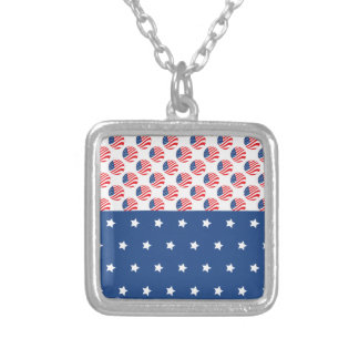 Patriotic Stars Stripes Freedom Flag 4th of July Necklace