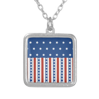 Patriotic Stars Stripes Freedom Flag 4th of July Custom Necklace