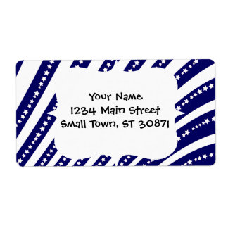 Patriotic Stars Stripes Freedom Flag 4th of July Shipping Label