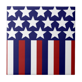 Patriotic Stars Stripes Freedom Flag 4th of July Small Square Tile