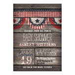 Patriotic Stars & Stripes, Rustic Wood Baby Shower 13 Cm X 18 Cm Invitation Card