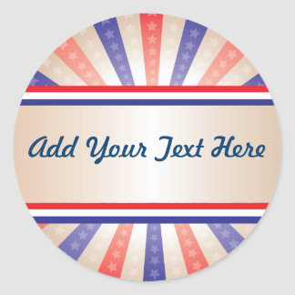 Patriotic sticker, red white and blue classic round sticker