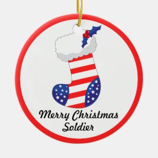 Patriotic Stocking - Merry Christmas Soldier Round Ceramic Decoration