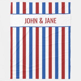 Patriotic Stripe Custom Names Fleece Blanket