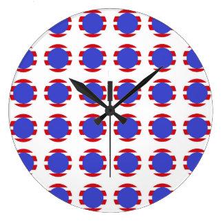 Patriotic Stripes and Polka Dots Large Clock