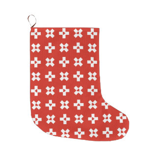 Patriotic Switzerland Flag-Heart pattern Large Christmas Stocking