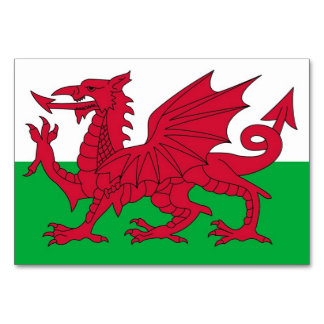 Patriotic table card with Flag of Wales