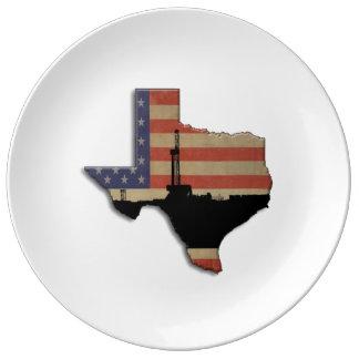 Patriotic Texas Oil Drilling Rig Porcelain Plate