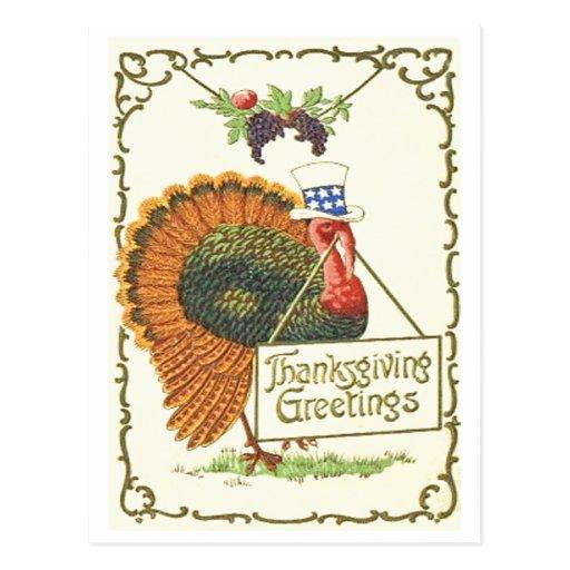 Patriotic Thanksgiving Postcard