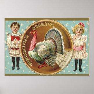 Patriotic Thanksgiving Turkey Children Stars Poster