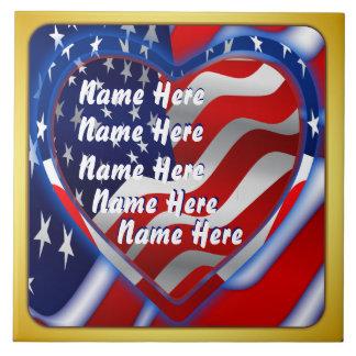 Patriotic Theme  Please View Notes Large Square Tile