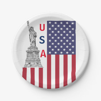 Patriotic Themed Party Paper Plates 7 Inch Paper Plate