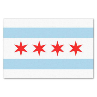 Patriotic tissue paper with flag of Chicago City