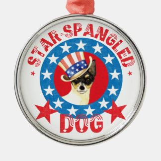 Patriotic Toy Fox Terrier Silver-Colored Round Decoration