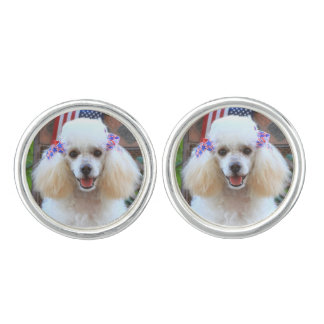 Patriotic Toy Poodle cufflinks