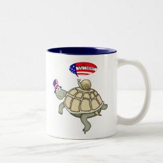 Patriotic turtle and snail mug! Two-Tone mug