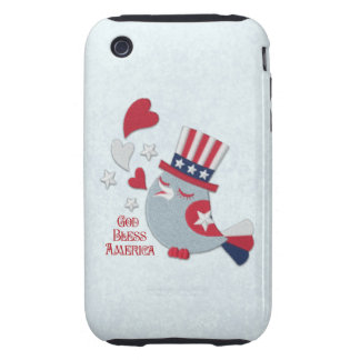 Patriotic Tweets Red White and Blue Bird iPhone 3 Tough Cases