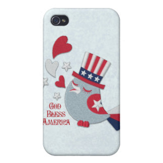 Patriotic Tweets Red White and Blue Bird iPhone 4 Case