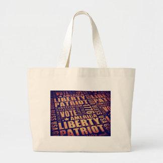 Patriotic Typography Jumbo Tote Bag