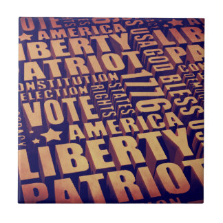 Patriotic Typography Small Square Tile