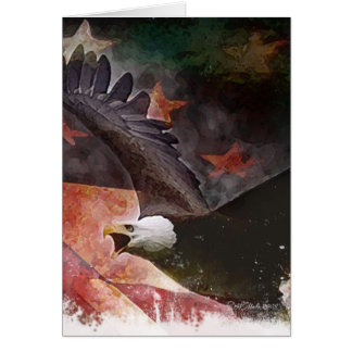 Patriotic U.S. Flag and Bald Eagle Greeting Card