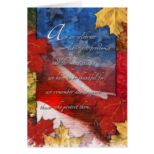 Patriotic U.S. Flag Thanksgiving Card Card