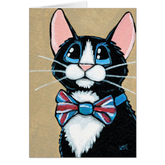 Patriotic UK Tuxedo Cat wearing Bow Tie Painting Card