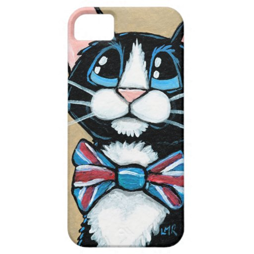 Patriotic UK Tuxedo Cat wearing Bow Tie Painting iPhone 5/5S Cover