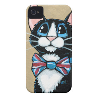 Patriotic UK Tuxedo Cat wearing Bow Tie Painting Case-Mate iPhone 4 Cases