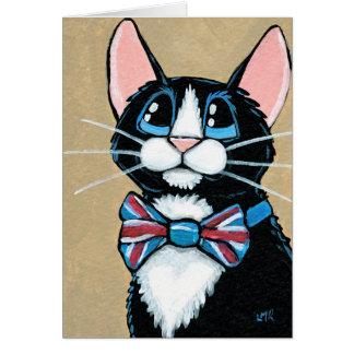 Patriotic UK Tuxedo Cat wearing Bow Tie Painting Greeting Card