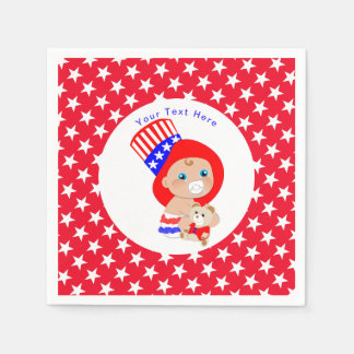 Patriotic Uncle Sam American Baby Personalized Disposable Serviette