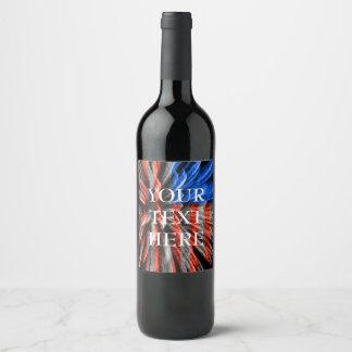 Patriotic United States Flag Wine Label