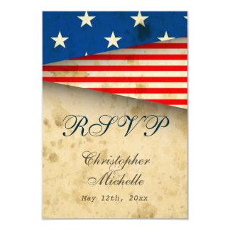 Patriotic US Flag Vintage Style Wedding RSVP Cards 9 Cm X 13 Cm Invitation Card