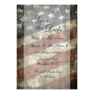Patriotic US Flag Vintage Wedding Save the Date 13 Cm X 18 Cm Invitation Card