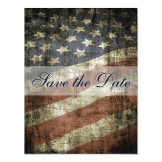 "Patriotic US Flag Vintage Wedding Save the Date 4.25"" X 5.5"" Invitation Card"