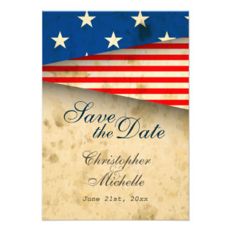 Patriotic US Flag Vintage Wedding Save the Date Personalized Invitation