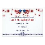 Patriotic US Flags and Stars Memorial Day 9 Cm X 13 Cm Invitation Card