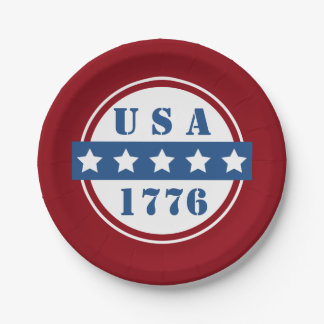 Patriotic USA 1776 red white blue stars plates