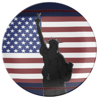 Patriotic USA American Flag Statue of Liberty Art Plate