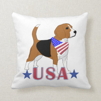 Patriotic USA Beagle Red White Blue Cushion