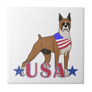 Patriotic USA Boxer Tile