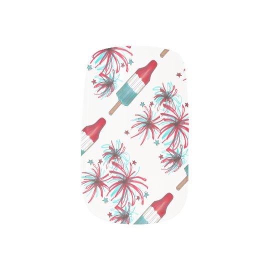 Patriotic USA Fireworks July 4th Rocket Pop Nails