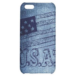 Patriotic USA Flag in Denim Blue iPhone 5C Cases