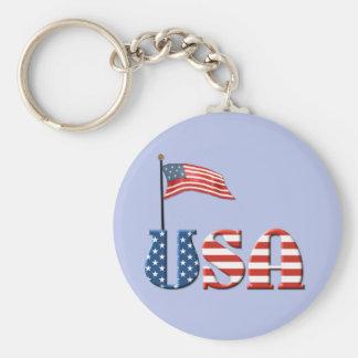 Patriotic USA Flag Basic Round Button Key Ring